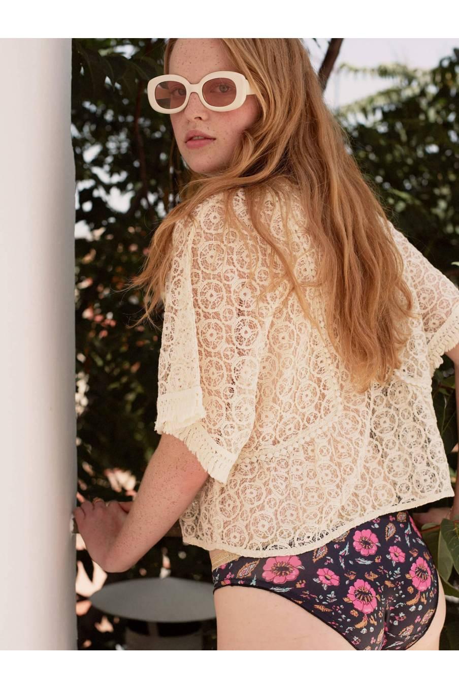 Blouse Lila Cream Sparkle Lace