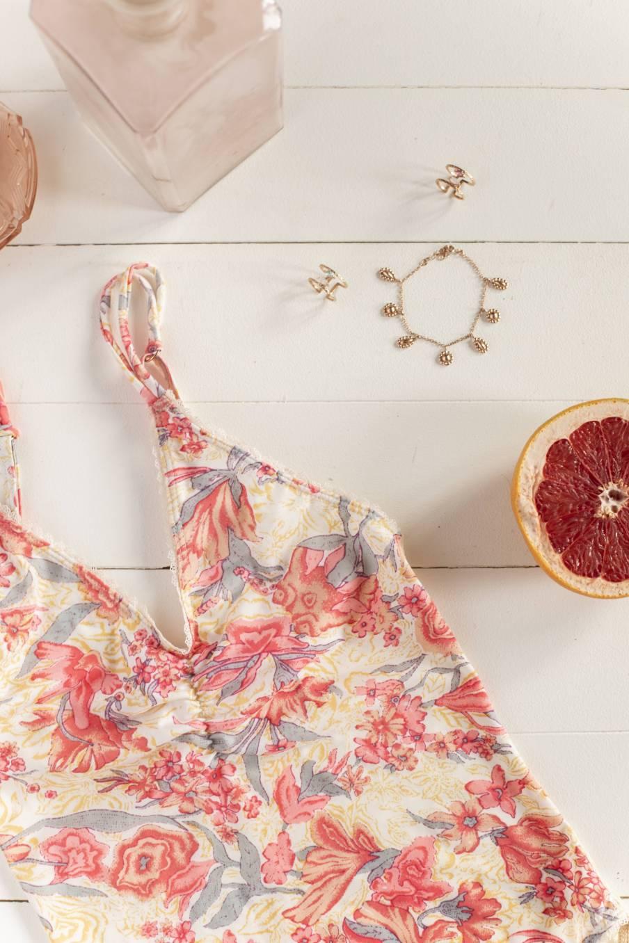 Bodysuit Ditya Pink Flowers