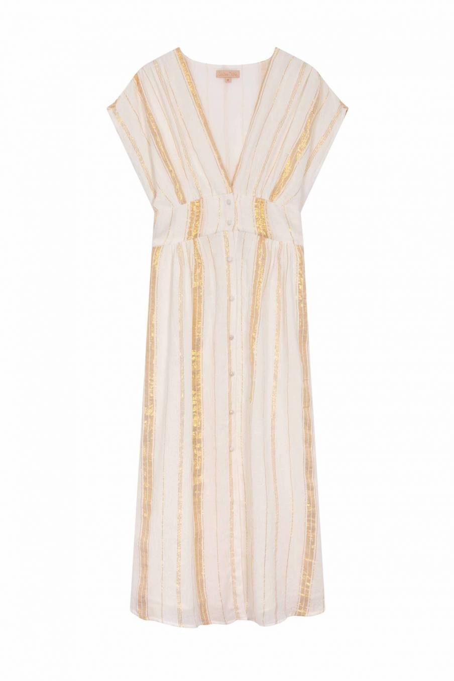 Dress Tylia White & Gold Stripes