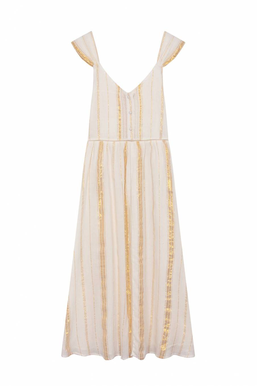 Dress Boha White & Gold Stripes