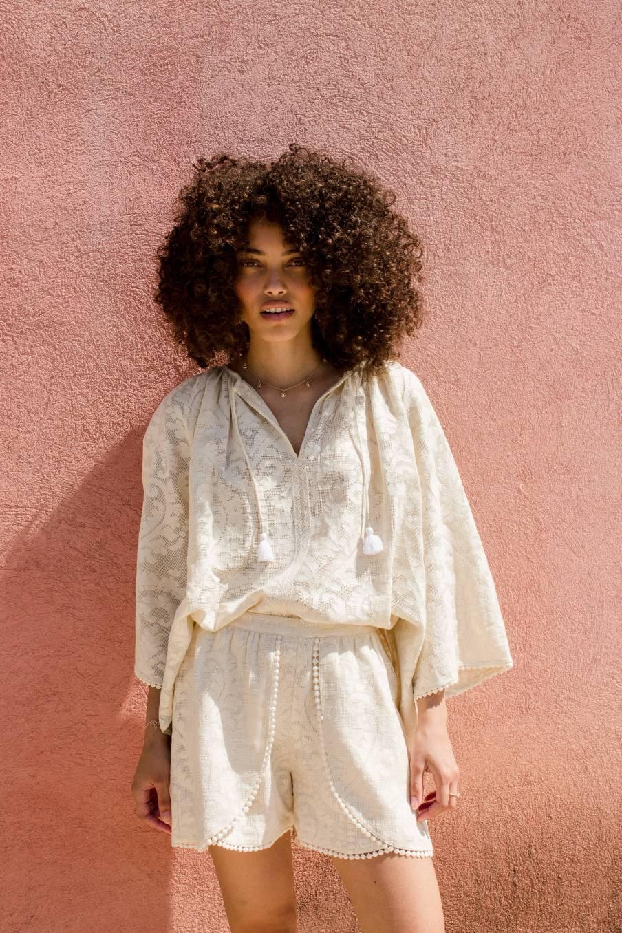 Shorts Toni Cream Baroque Lace