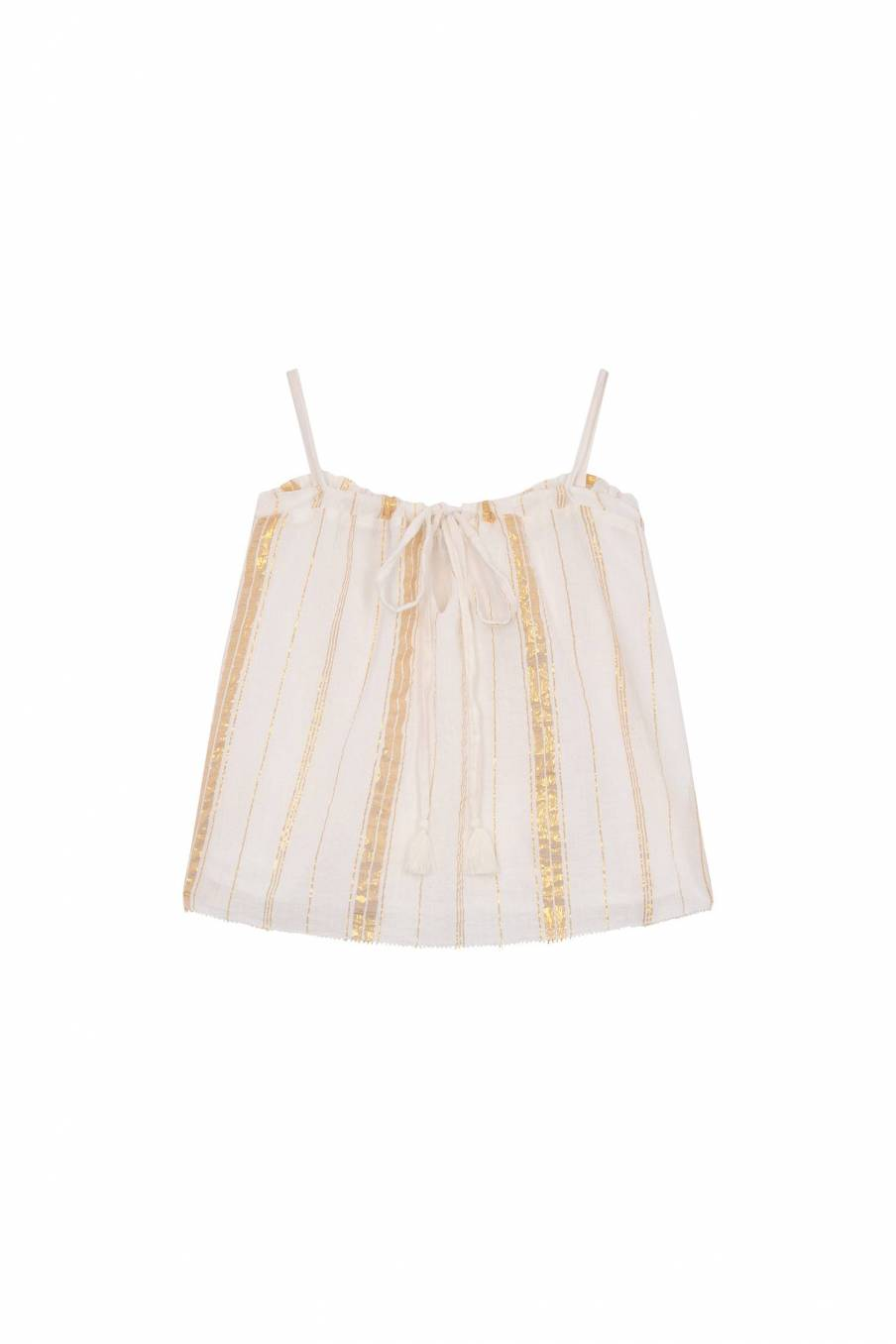 Top Cary White & Gold Stripes