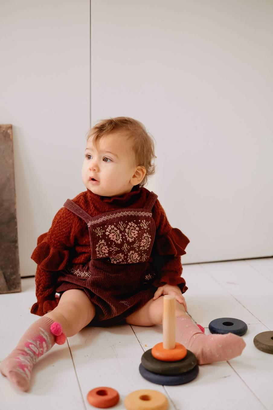 boheme chic vintage barboteuse bébé fille maria aubergine velvet