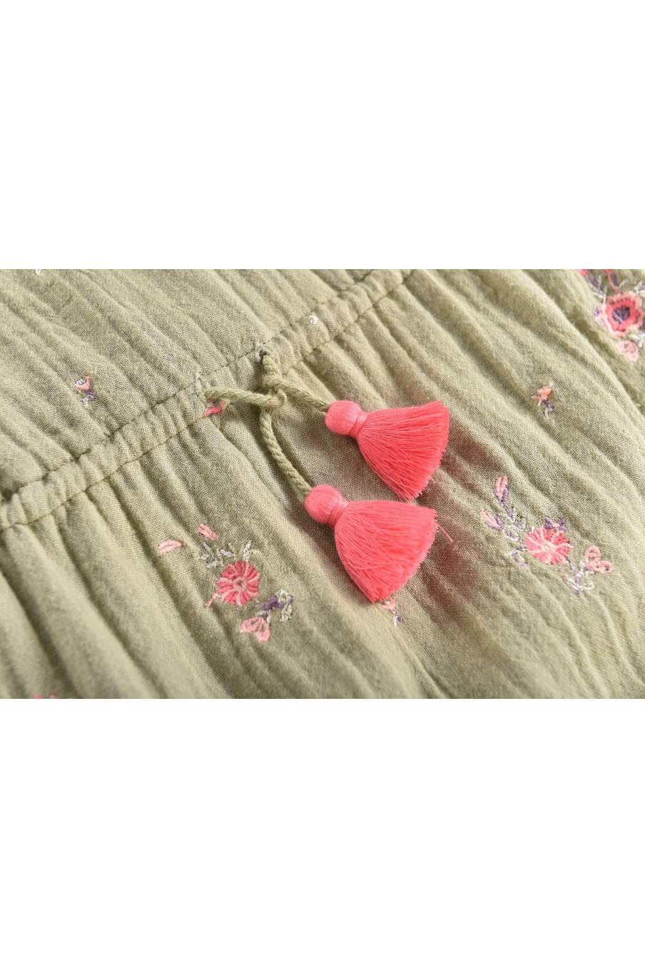 boheme chic vintage combinaison bébé fille eden khaki flowers