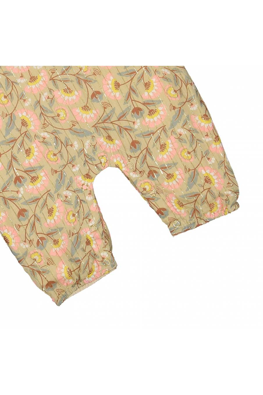 boheme chic vintage combinaison bébé fille macesti khaki folk flowers