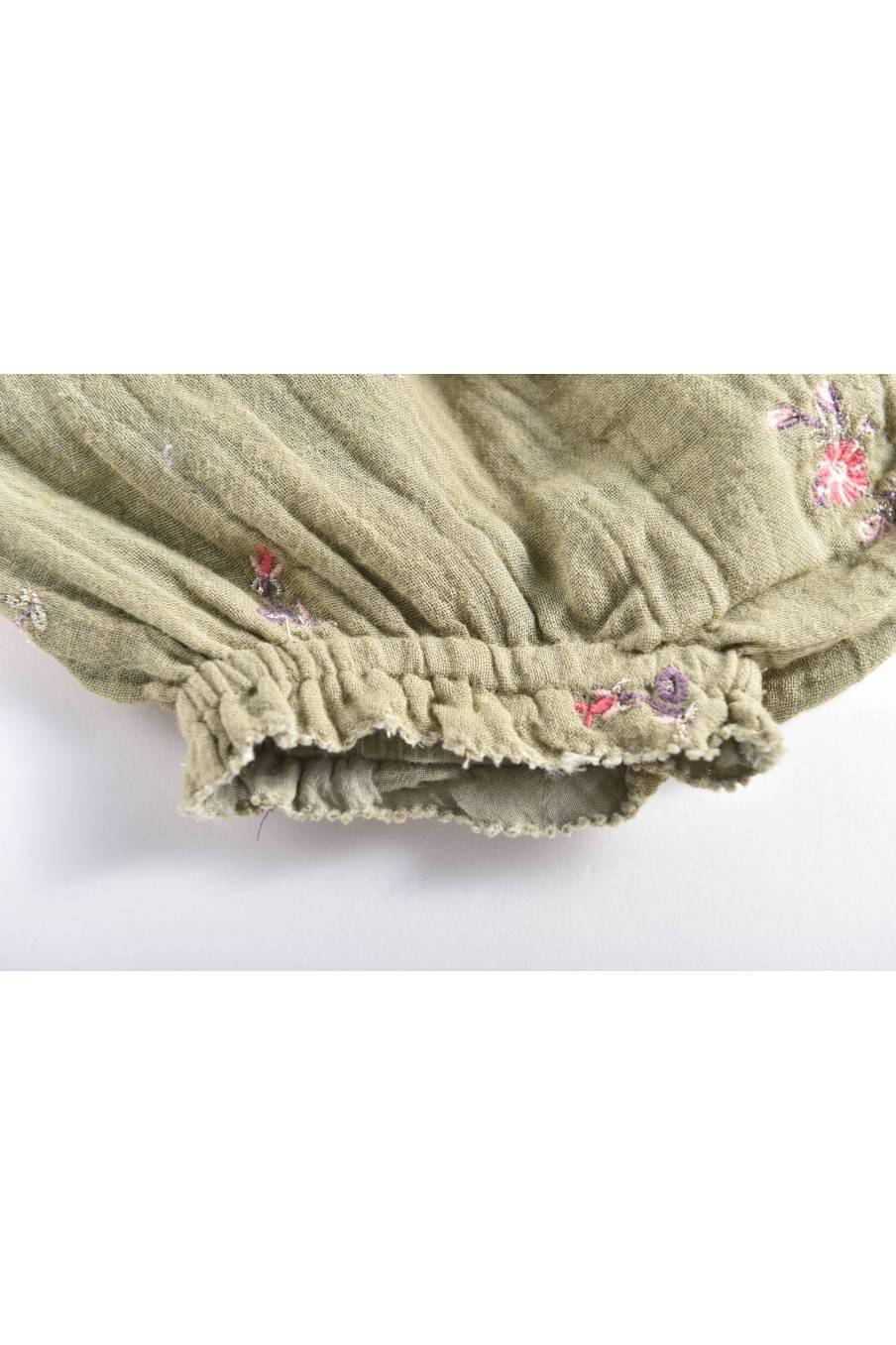 boheme chic vintage bloomer bébé fille janelle khaki flowers