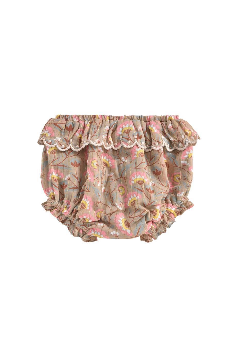 boheme chic vintage bloomer bébé fille janelle khaki folk flowers