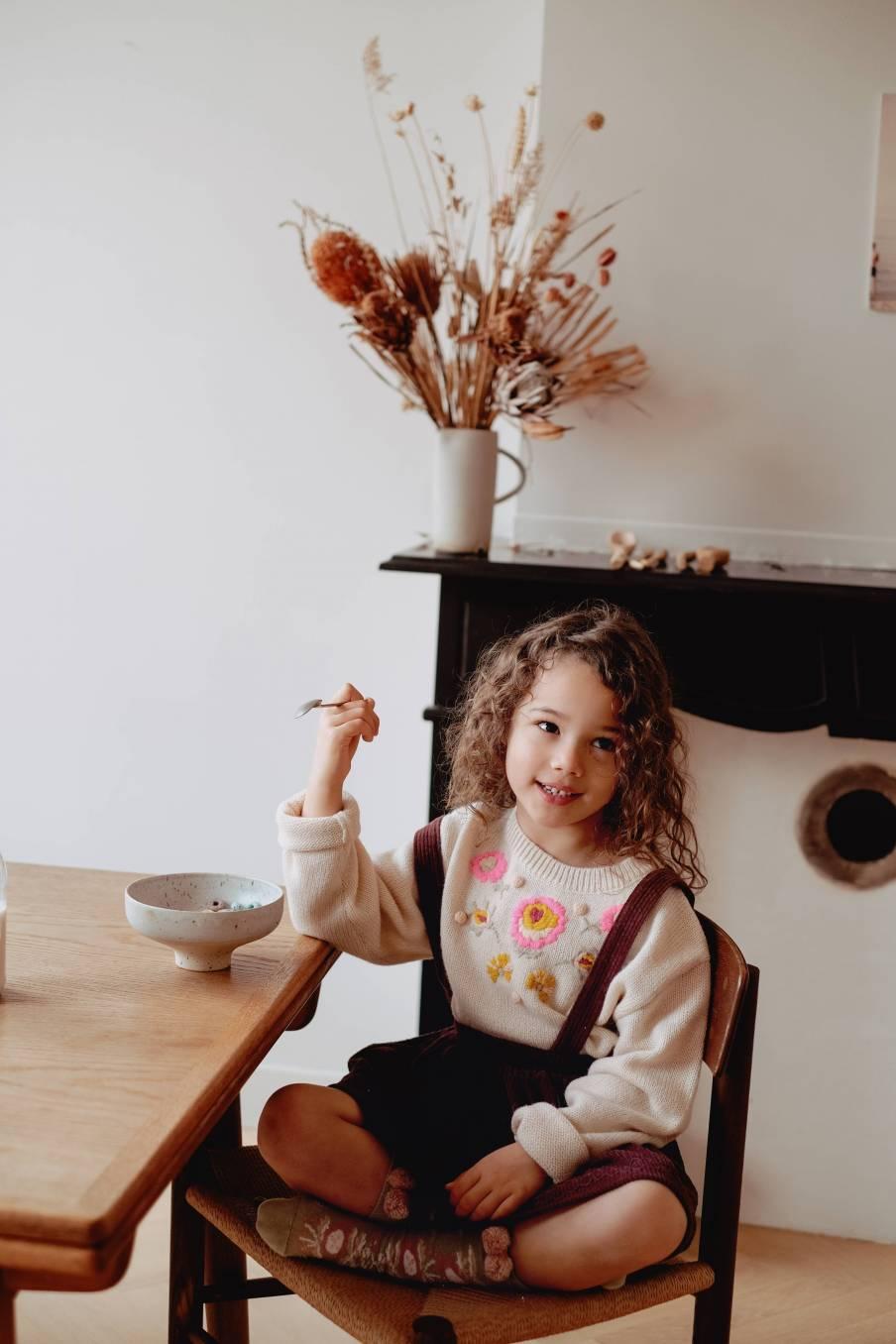 boheme chic vintage jupe bébé fille eleonor aubergine velvet