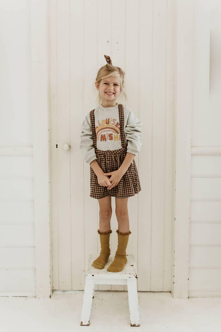 boheme chic vintage jupe bébé fille asanna aubergine vichy