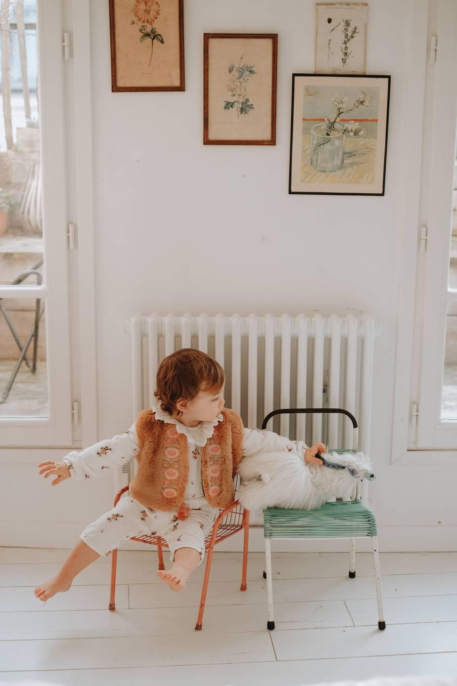 boheme chic vintage gilet bébé fille bianca noisette