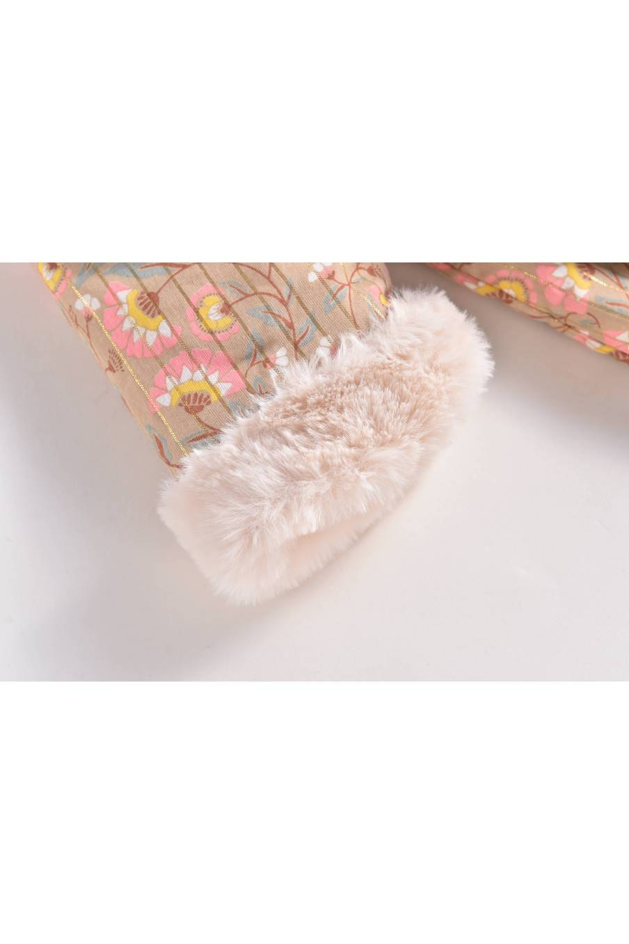boheme chic vintage manteau bébé fille bacani khaki folk flowers
