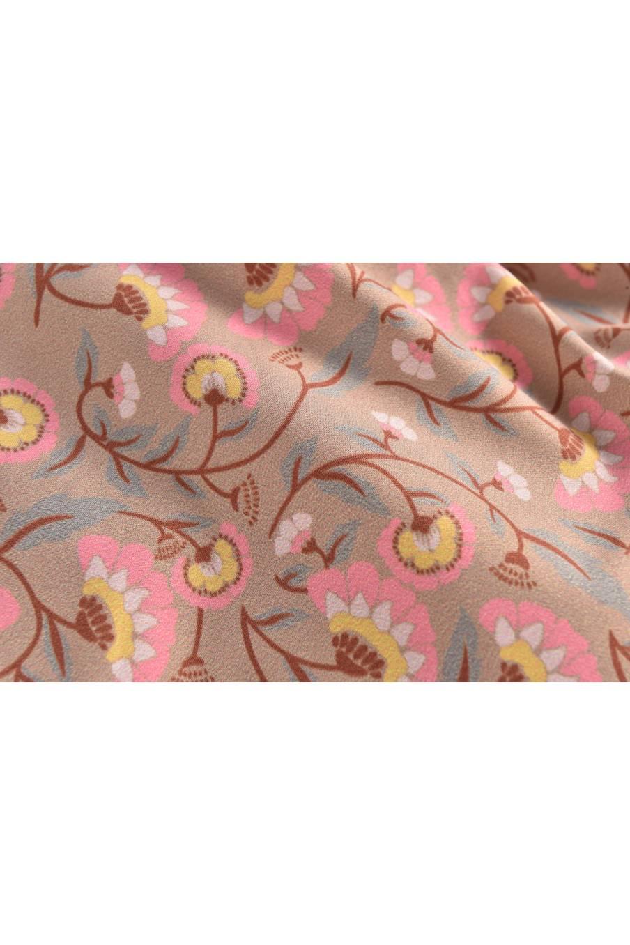 boheme chic vintage imperméable bébé fille mara khaki folk flowers