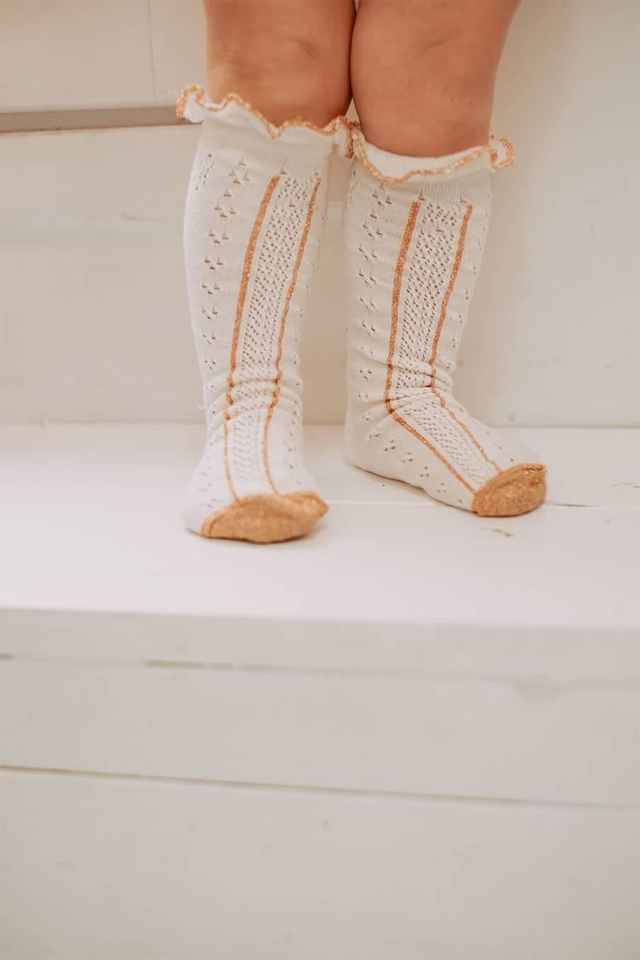 boheme chic vintage chaussettes bébé fille chatma crème