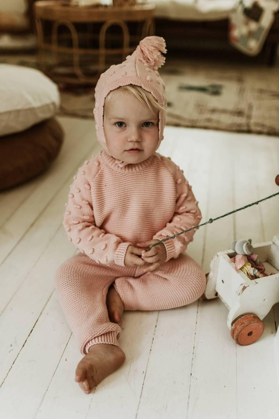 boheme chic vintage bonnet bébé fille akira bubble gum
