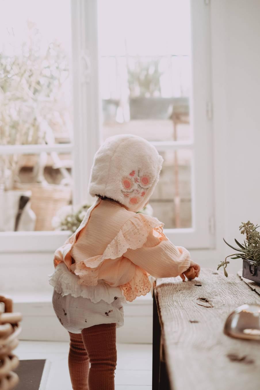 boheme chic vintage bonnet bébé fille inna crème