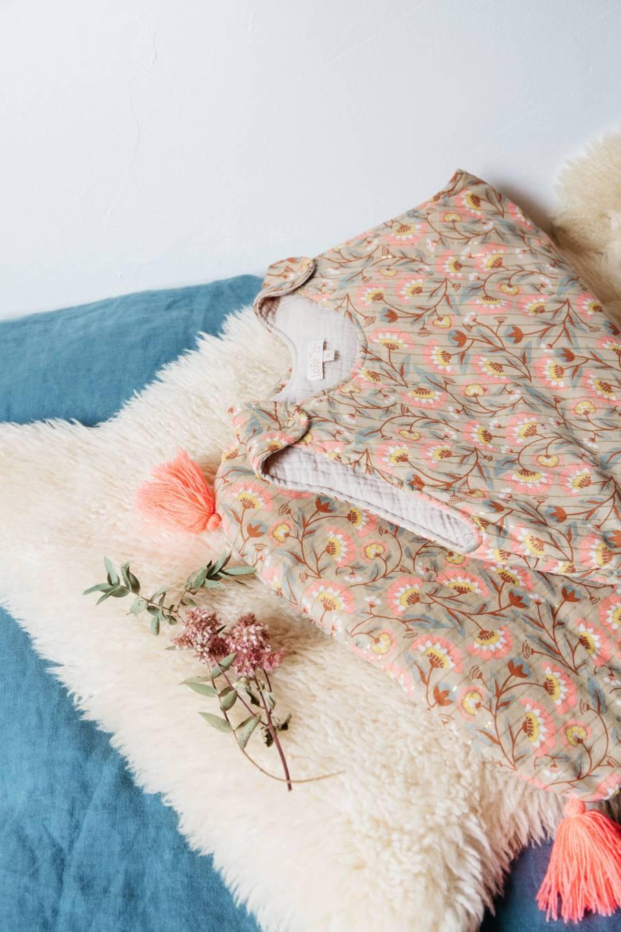 boheme chic vintage turbulette bébé fille masha khaki folk flowers