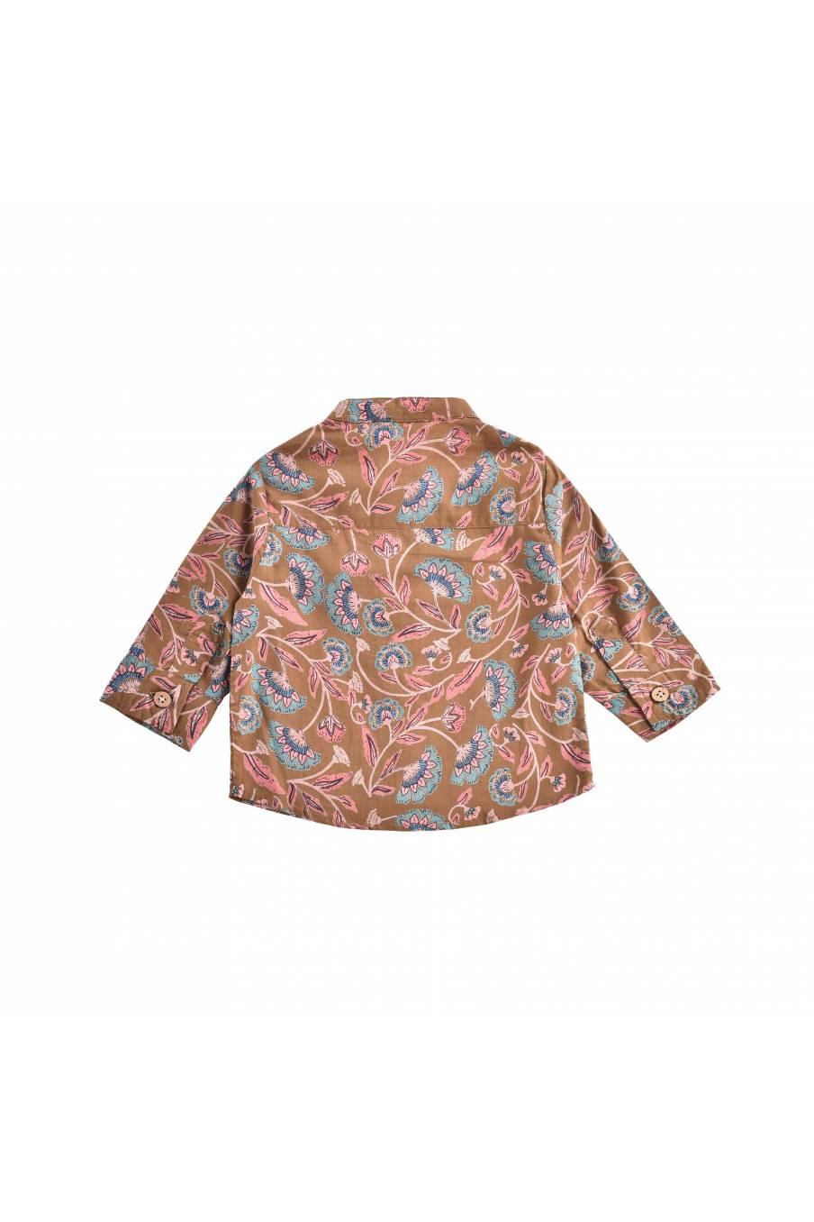 boheme chic vintage chemise bébé garcon akir bronze folk flowers