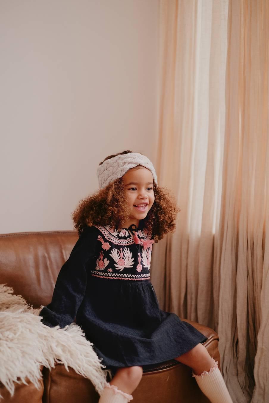 boheme chic vintage robe bébé fille sannali charbon