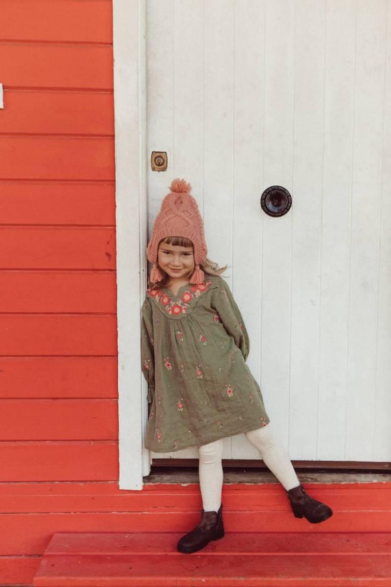 boheme chic vintage robe bébé fille ines khaki flowers