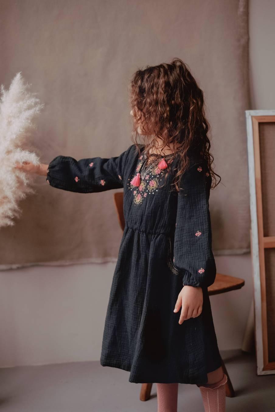 boheme chic vintage robe bébé fille lexia charbon