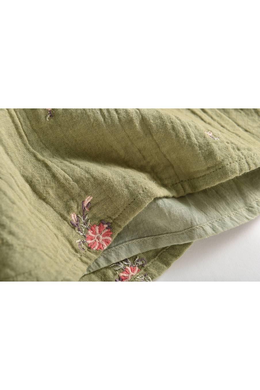 boheme chic vintage blouse bébé fille sandrine khaki flowers