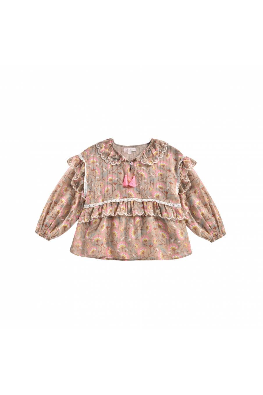 boheme chic vintage blouse bébé fille gaita khaki folk flowers