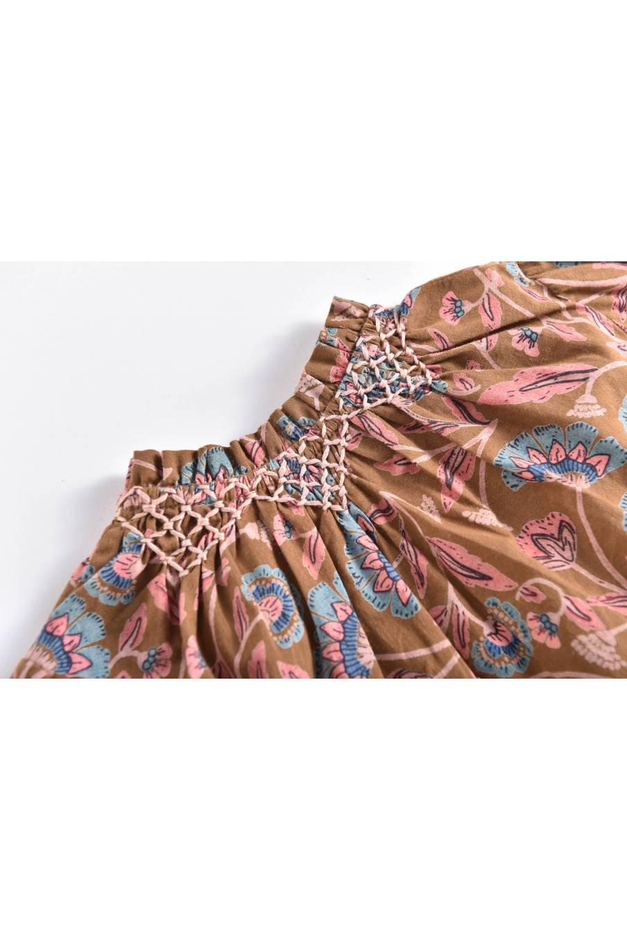 boheme chic vintage blouse bébé fille aida bronze folk flowers