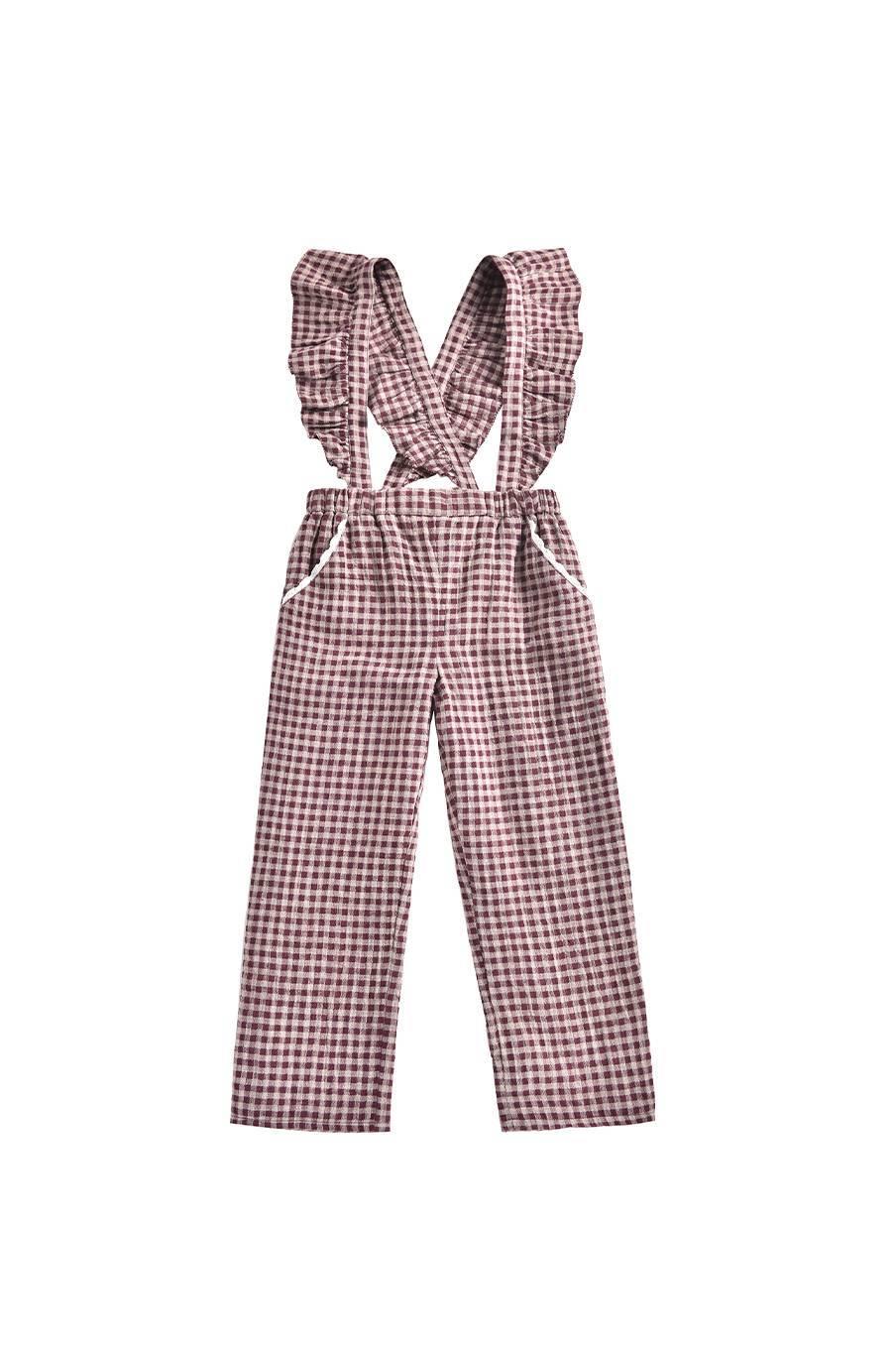 boheme chic vintage pantalon bébé fille amba aubergine vichy