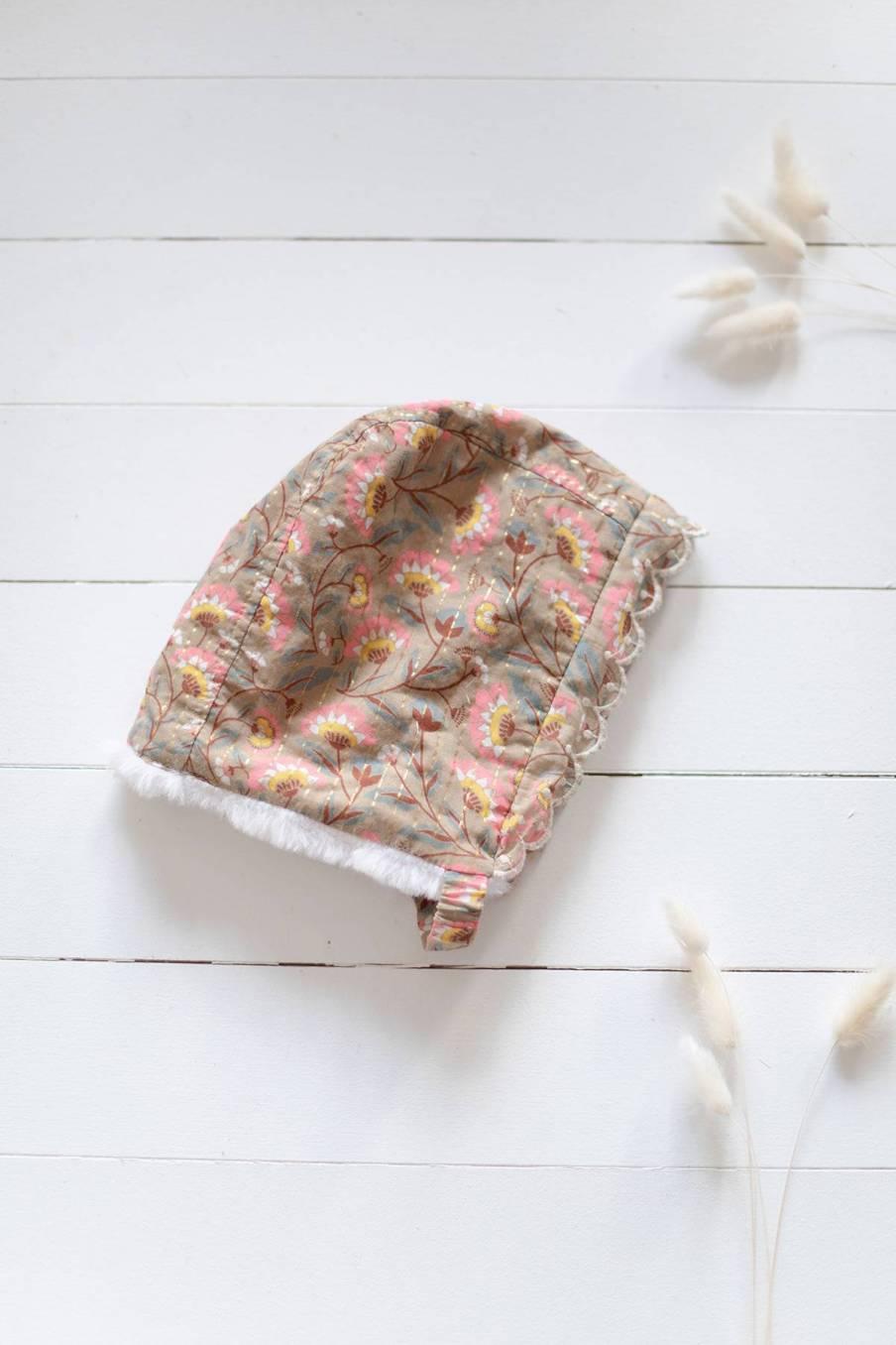 boheme chic vintage bonnet bébé fille odia khaki folk flowers
