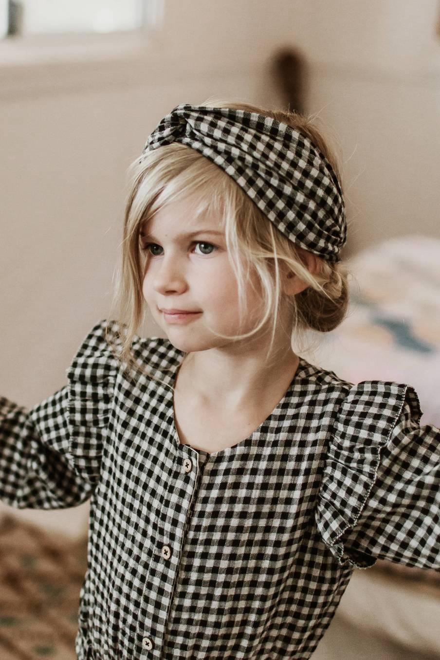 boheme chic vintage bandeau bébé fille ally black vichy