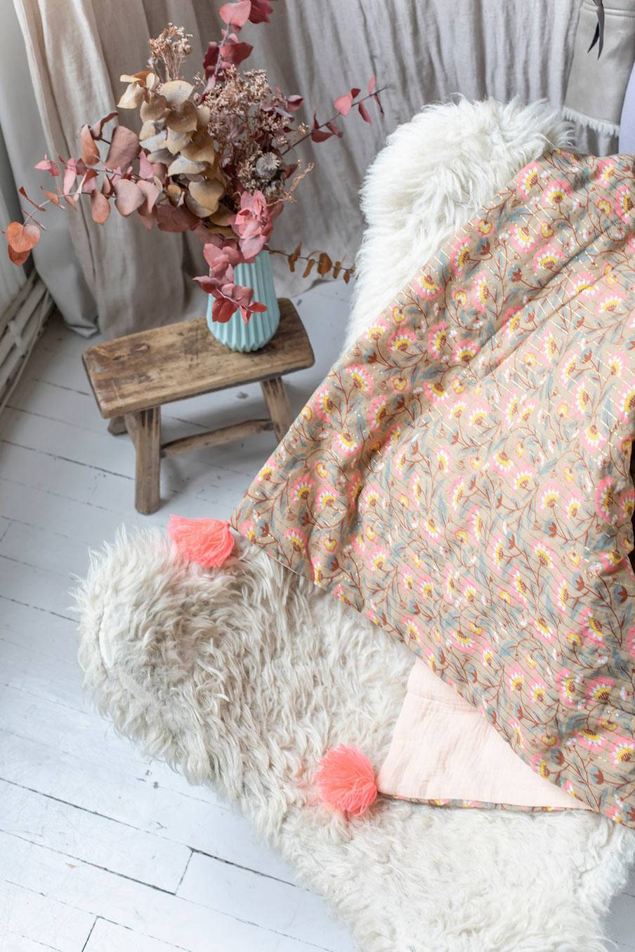 boheme chic vintage petit plaid maison dana khaki folk flowers