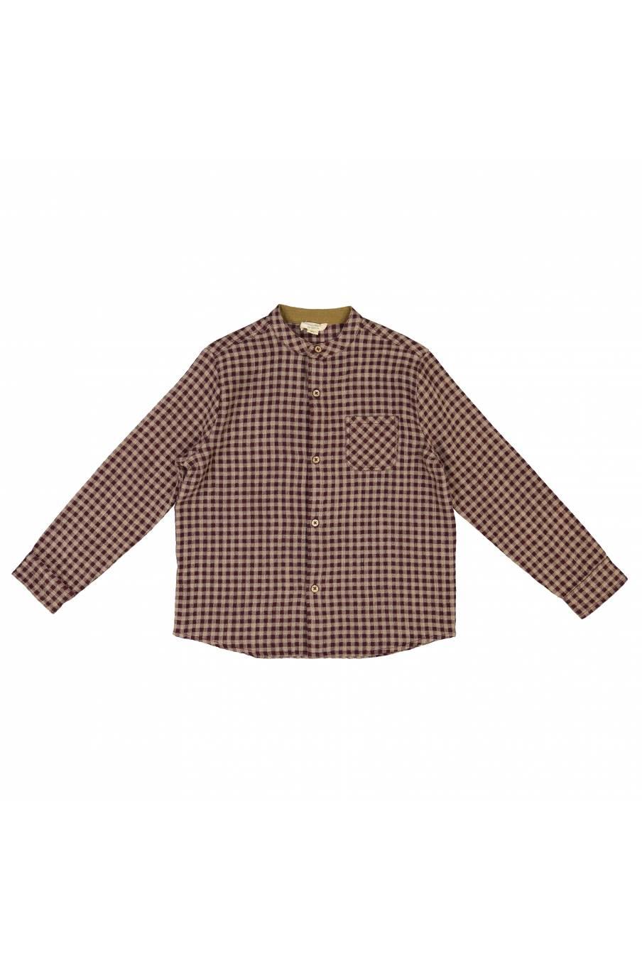 boheme chic vintage chemise bébé garcon akir aubergine vichy