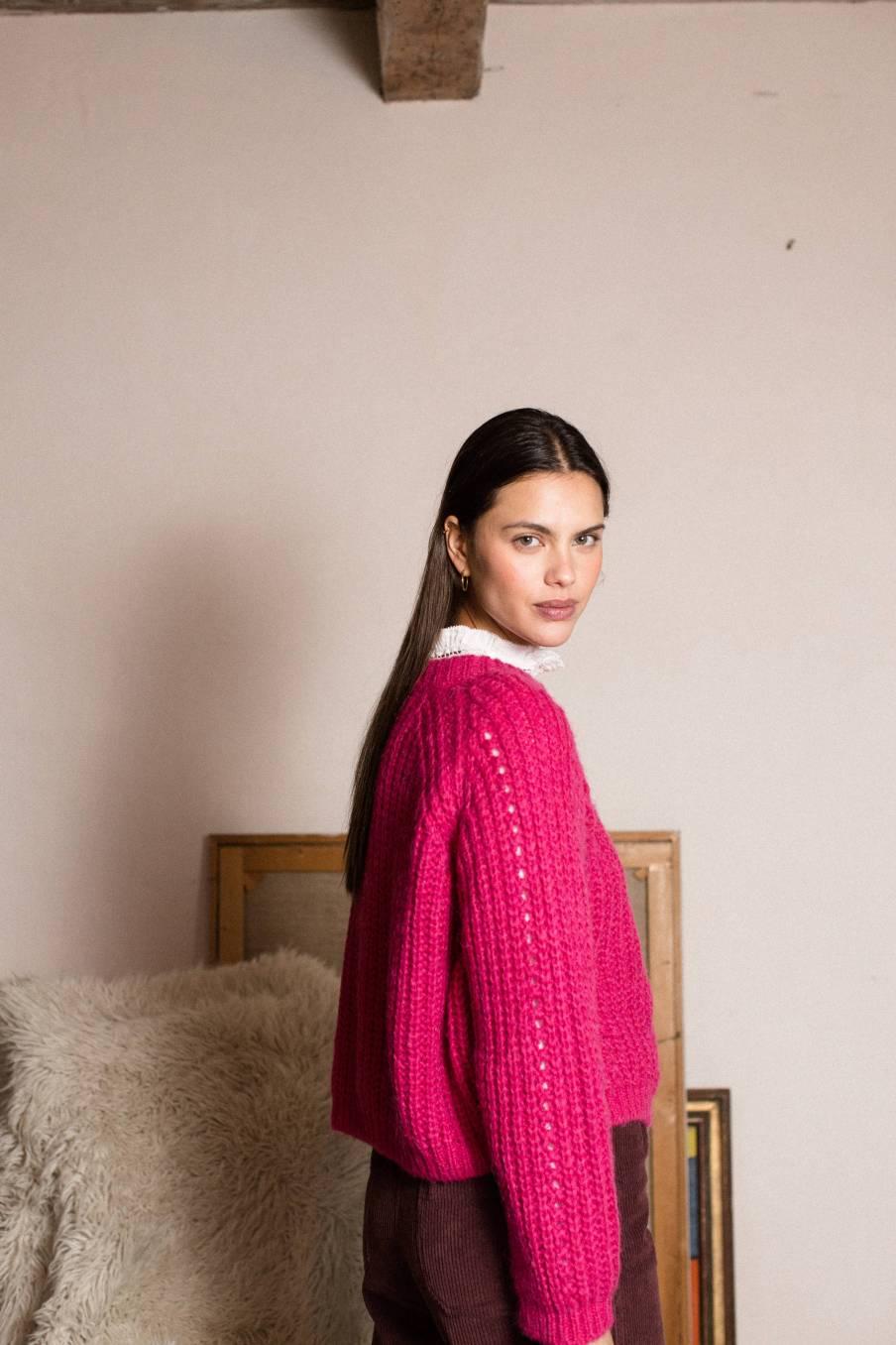 boheme chic vintage pull femme salcea fuchsia