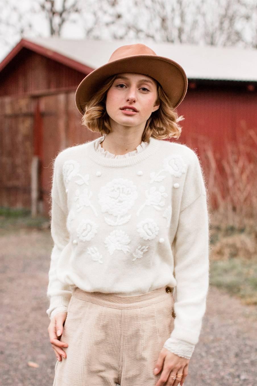 boheme chic vintage pull femme sibiu crème