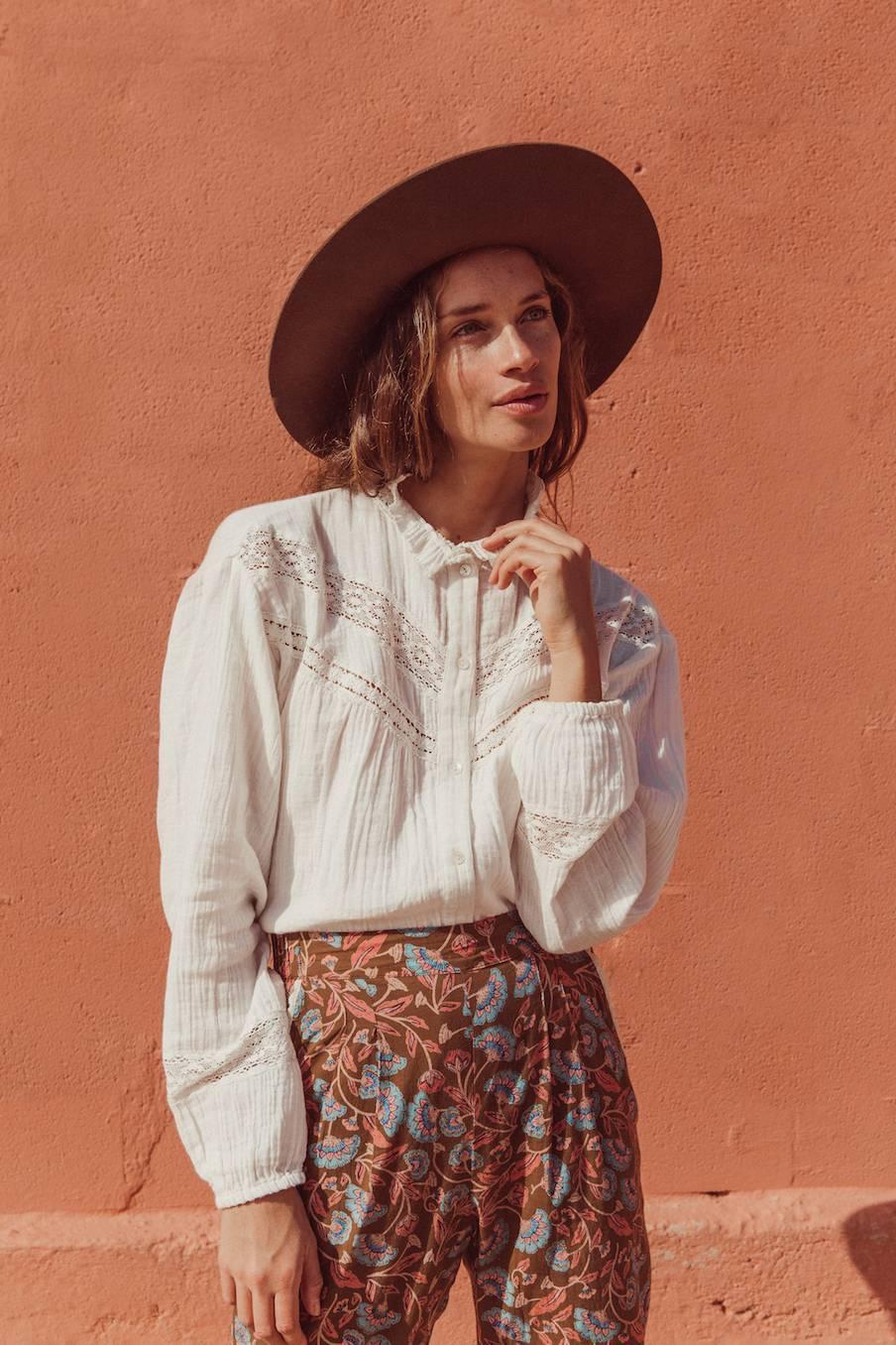 boheme chic vintage blouse femme adama blanc