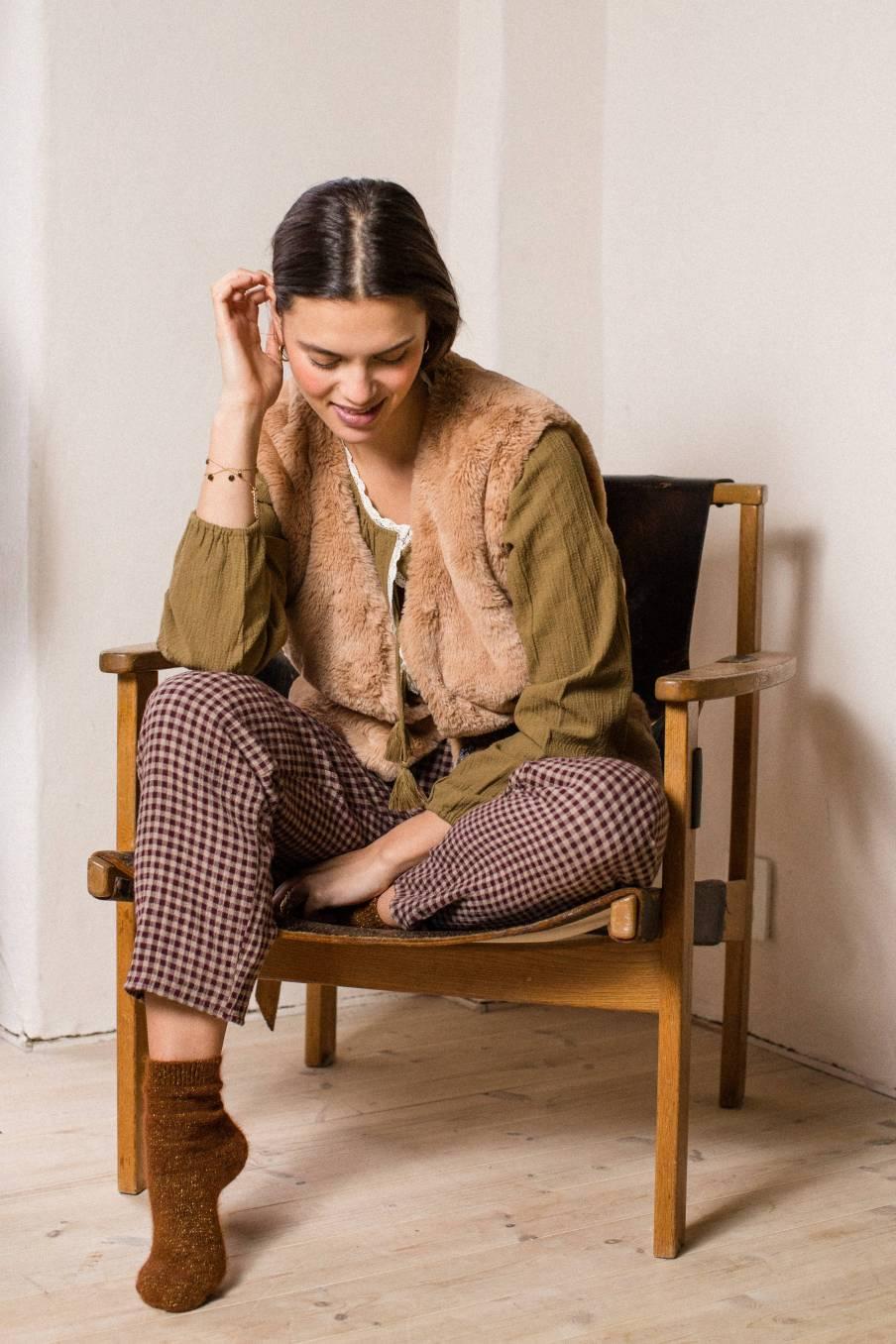 boheme chic vintage blouse femme anda kaki