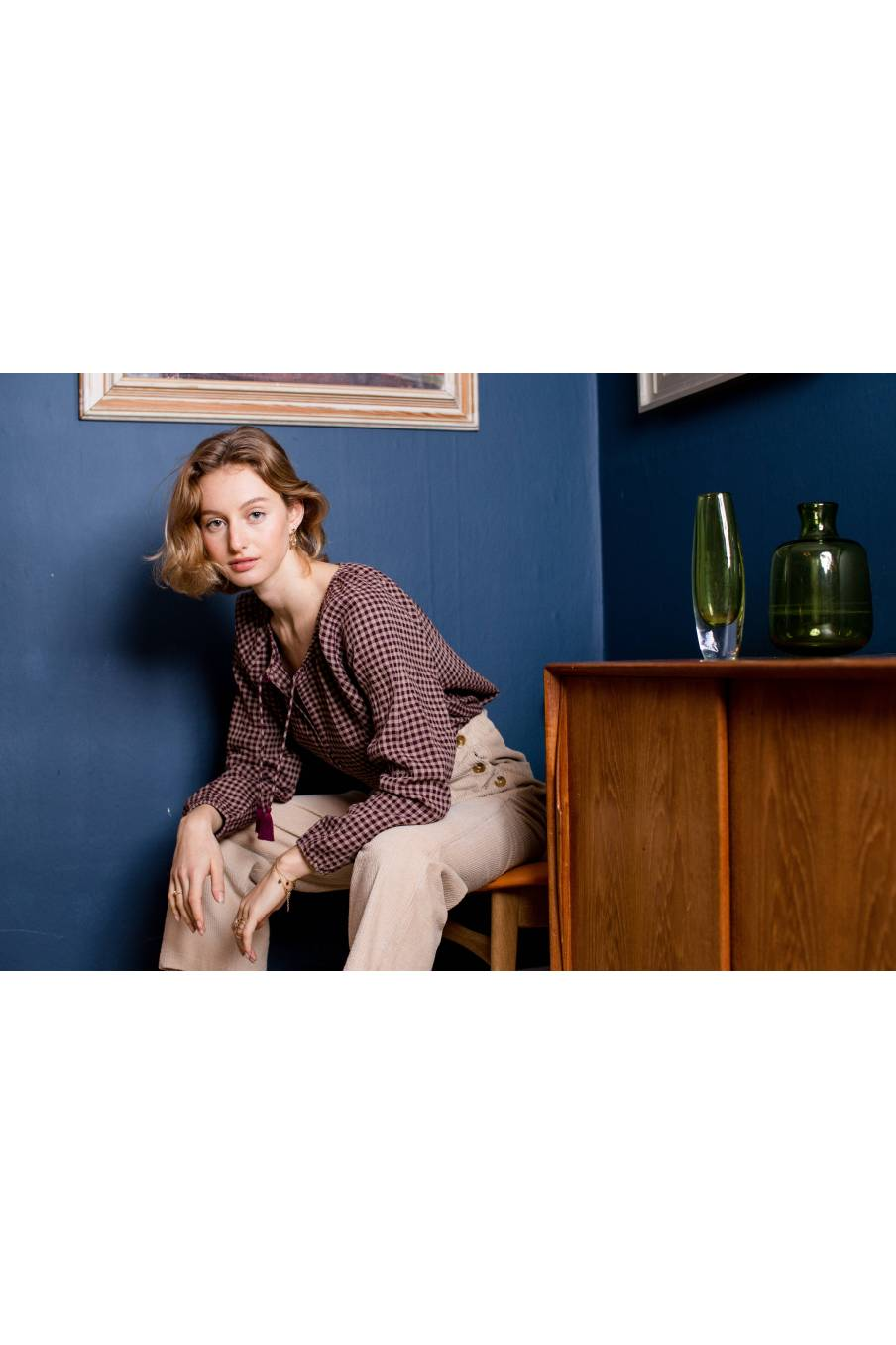 boheme chic vintage blouse femme anda aubergine vichy