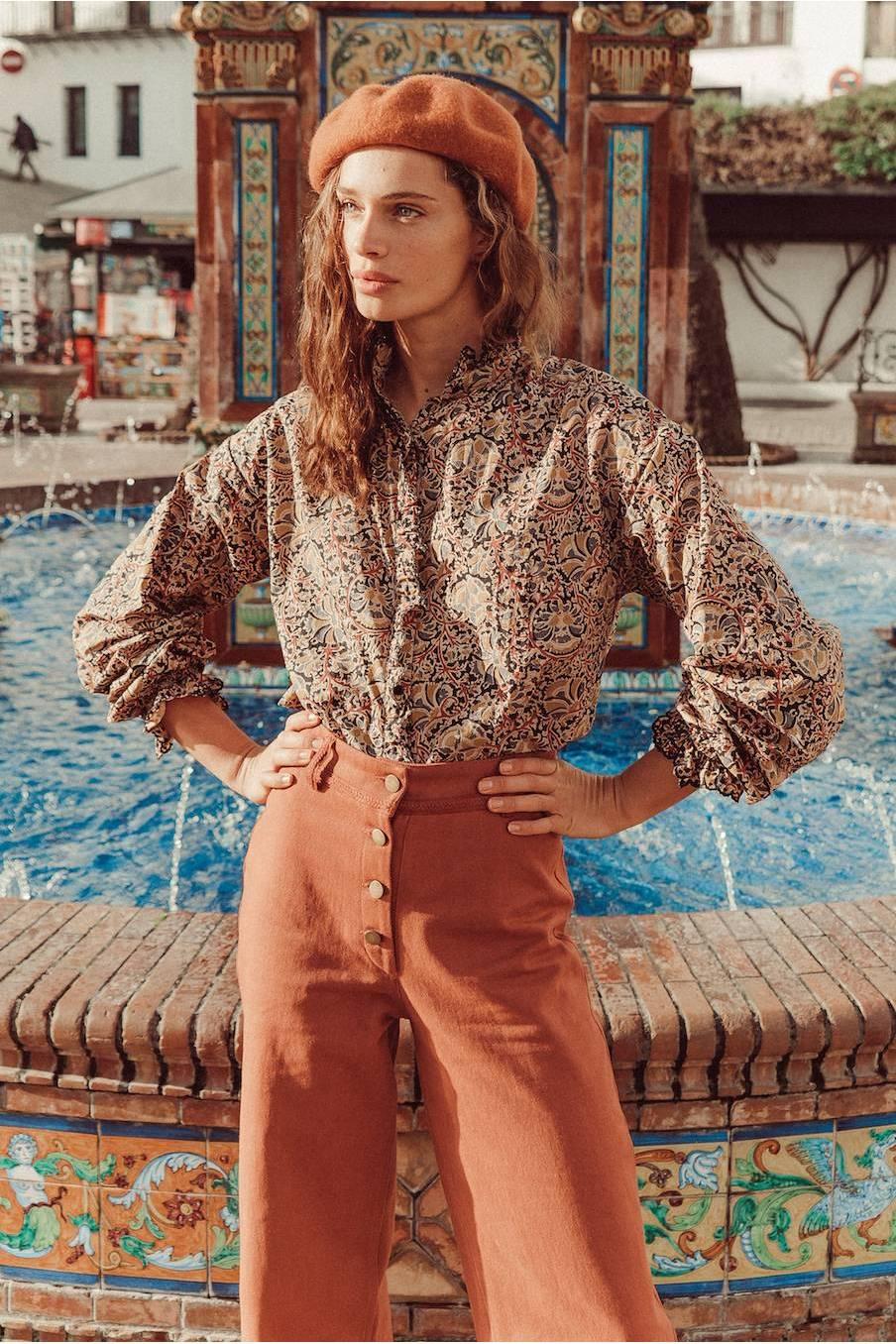 boheme chic vintage blouse femme ila nordish flowers