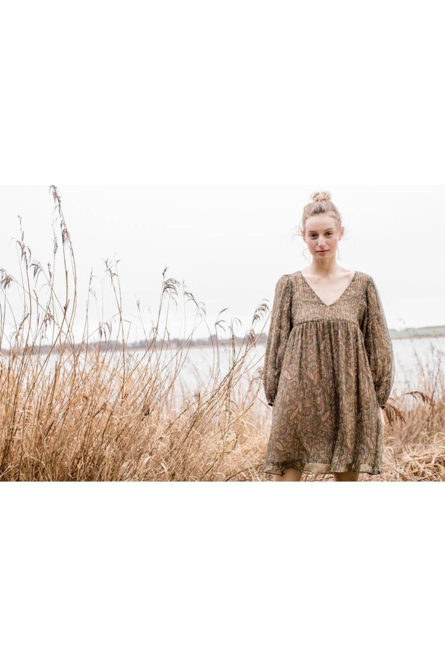 boheme chic vintage robe femme otti lurex folk flowers
