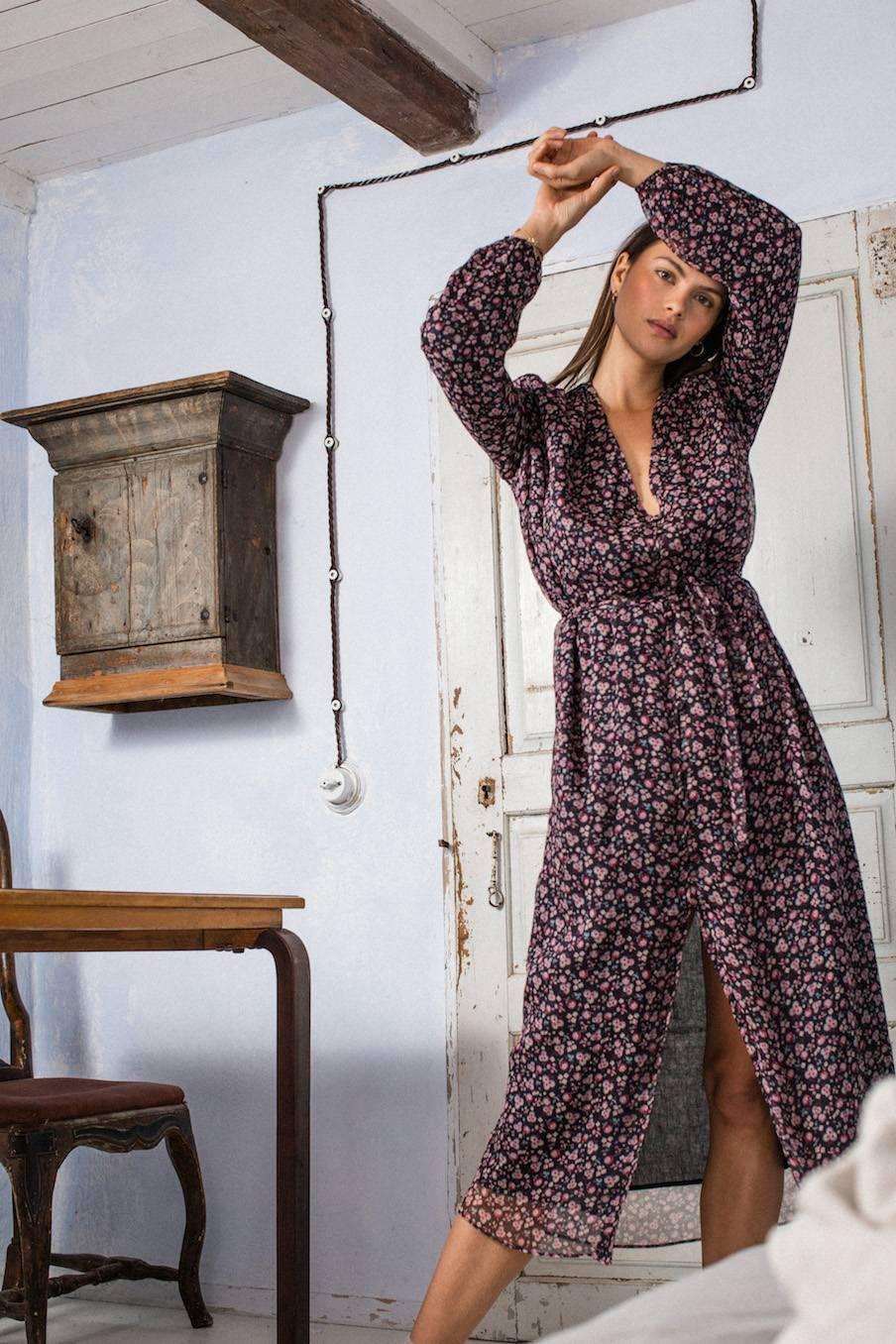 boheme chic vintage robe femme rama berry flowers