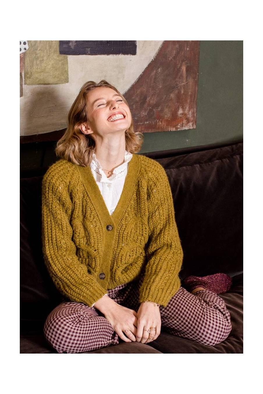 boheme chic vintage pantalon femme aleksy aubergine vichy