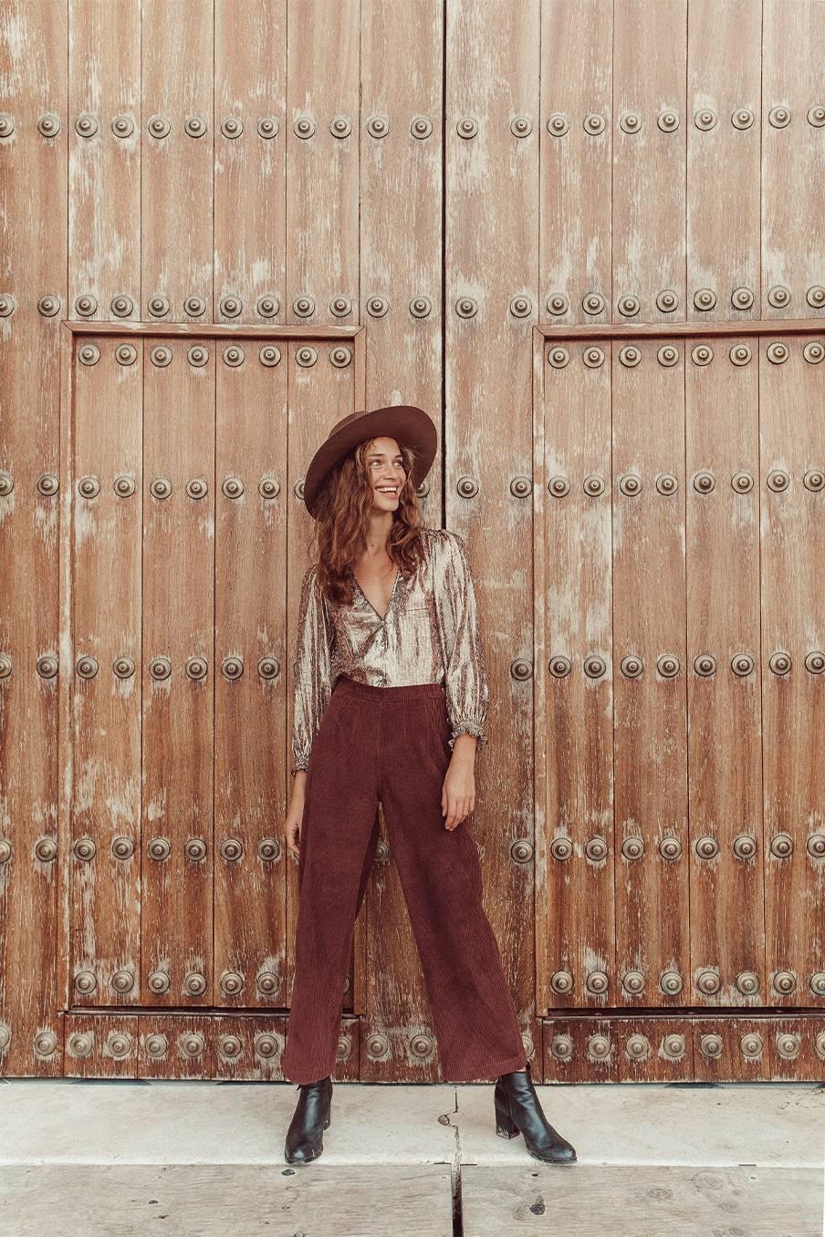 boheme chic vintage pantalon femme beatriz aubergine velvet