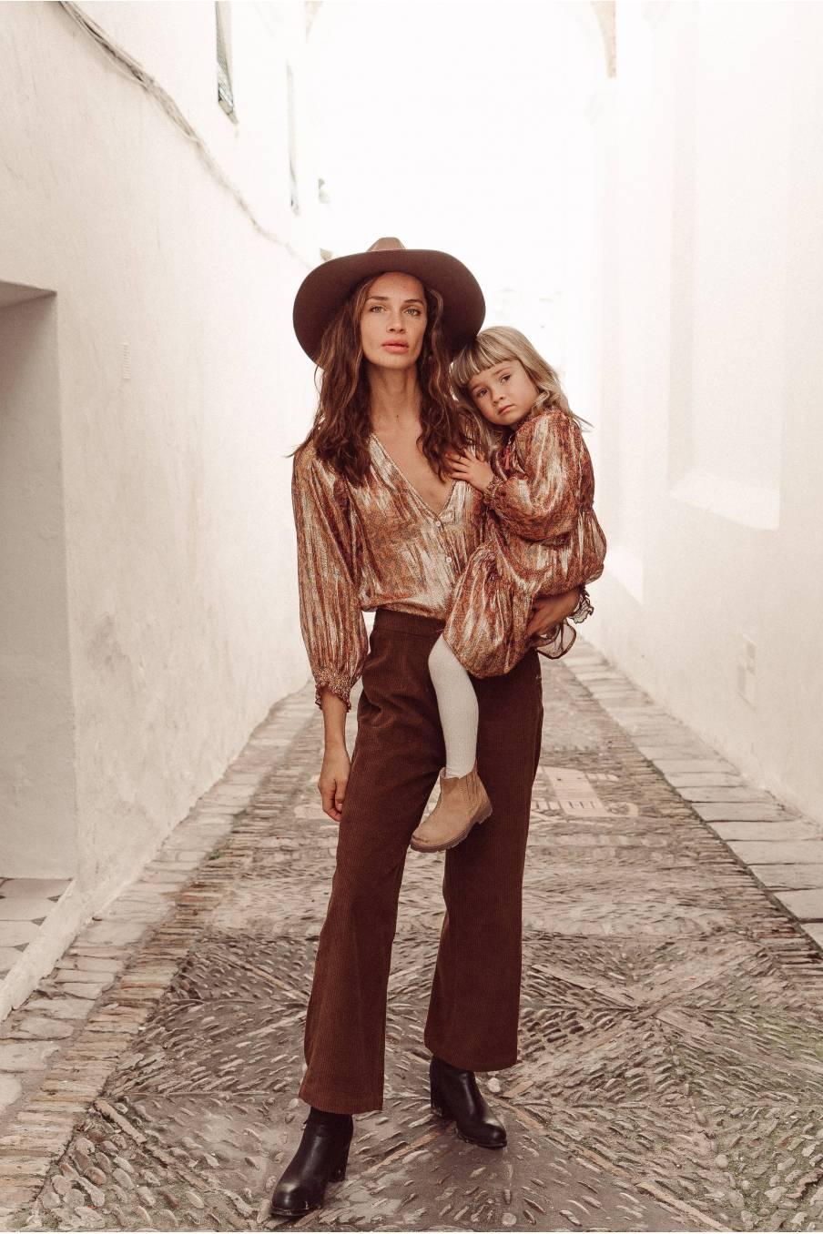 boheme chic vintage pantalon femme beatriz bronze velvet