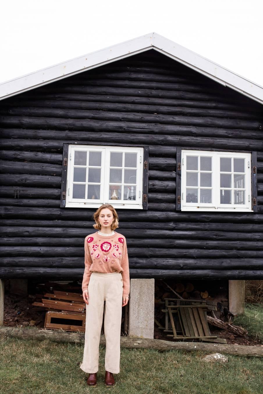 boheme chic vintage pantalon femme beatriz cream velvet