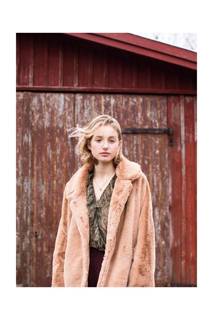 boheme chic vintage manteau femme gaia noisette