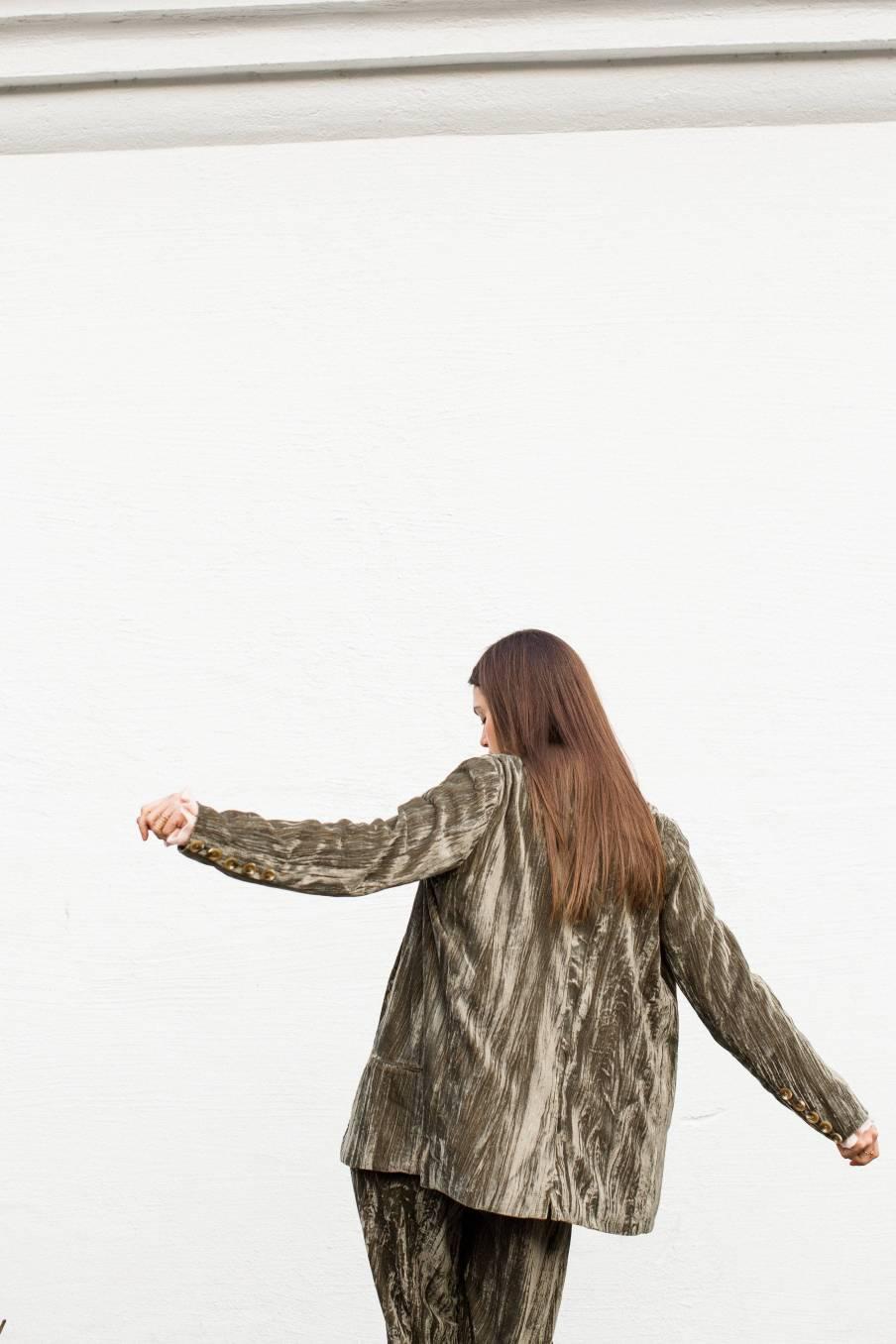 boheme chic vintage veste femme hans olive velvet