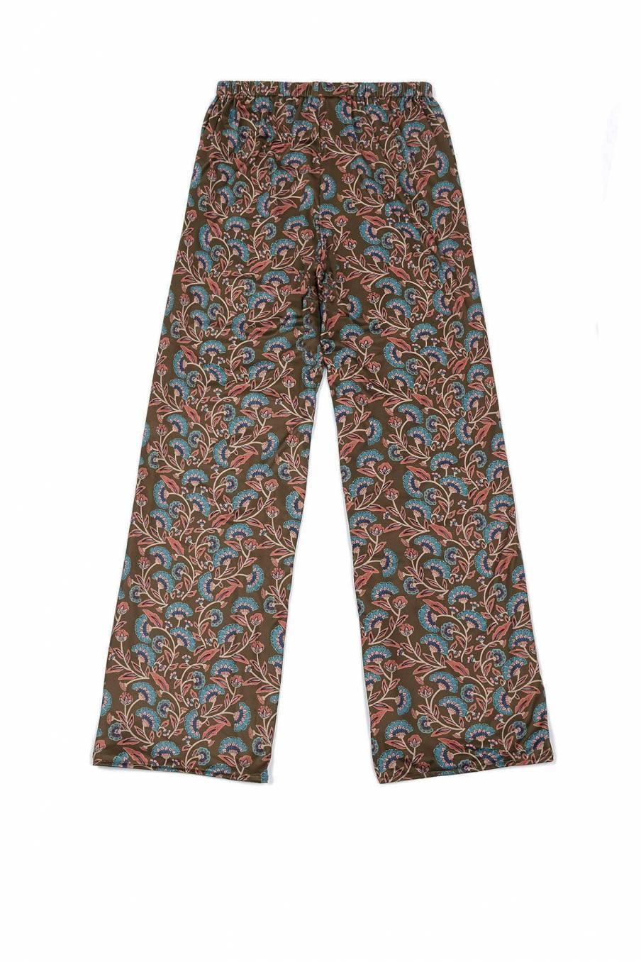 boheme chic vintage bas de pyjama femme melicia bronze folk flowers