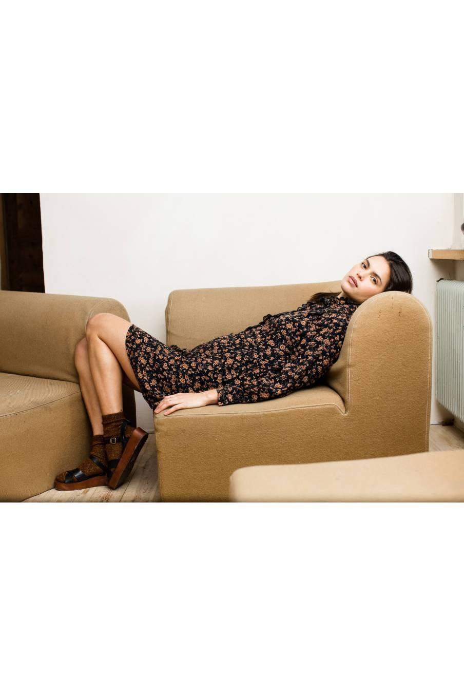 boheme chic vintage chaussettes femme piria chataigne