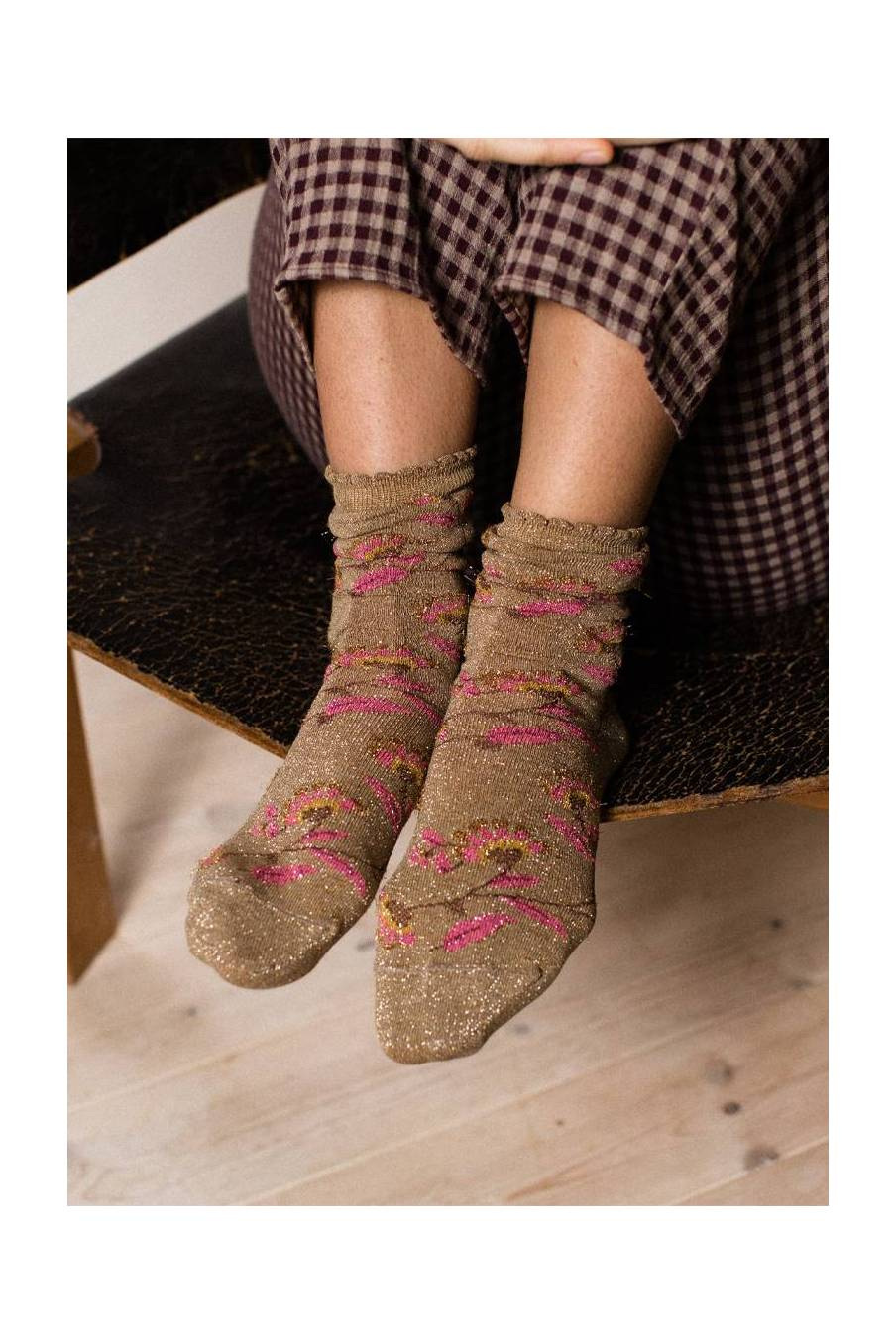 boheme chic vintage chaussettes femme chihi beige