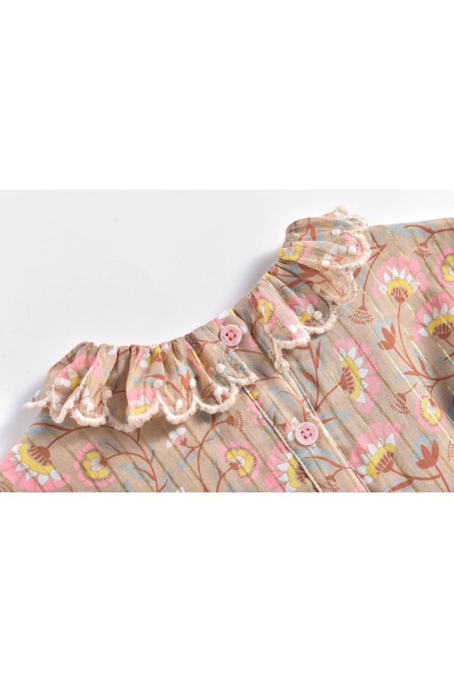 boheme chic vintage robe bébé fille eforie khaki folk flowers